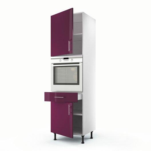 Meuble de cuisine colonne violet 2 portes 1 tiroir rio h for Meuble cuisine violet