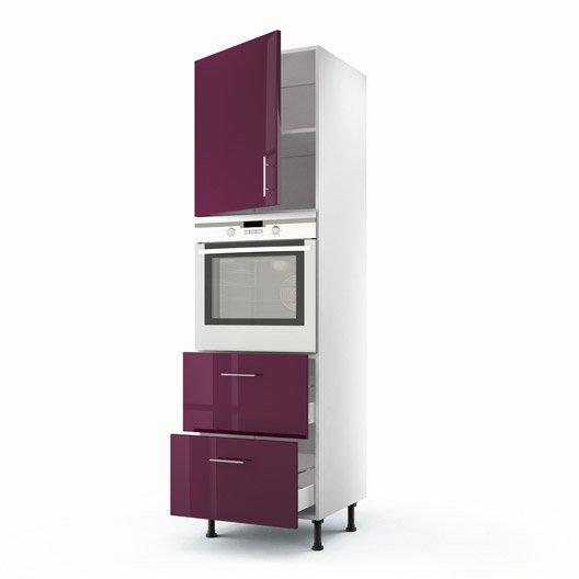 Meuble de cuisine colonne violet 1 porte 2 tiroirs rio x x cm leroy merlin - Meuble cuisine violet ...