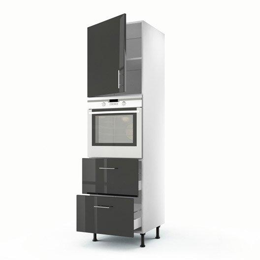 Meuble de cuisine colonne gris 1 porte 2 tiroirs rio h for Meuble 2 tiroirs 60 cm woodstock