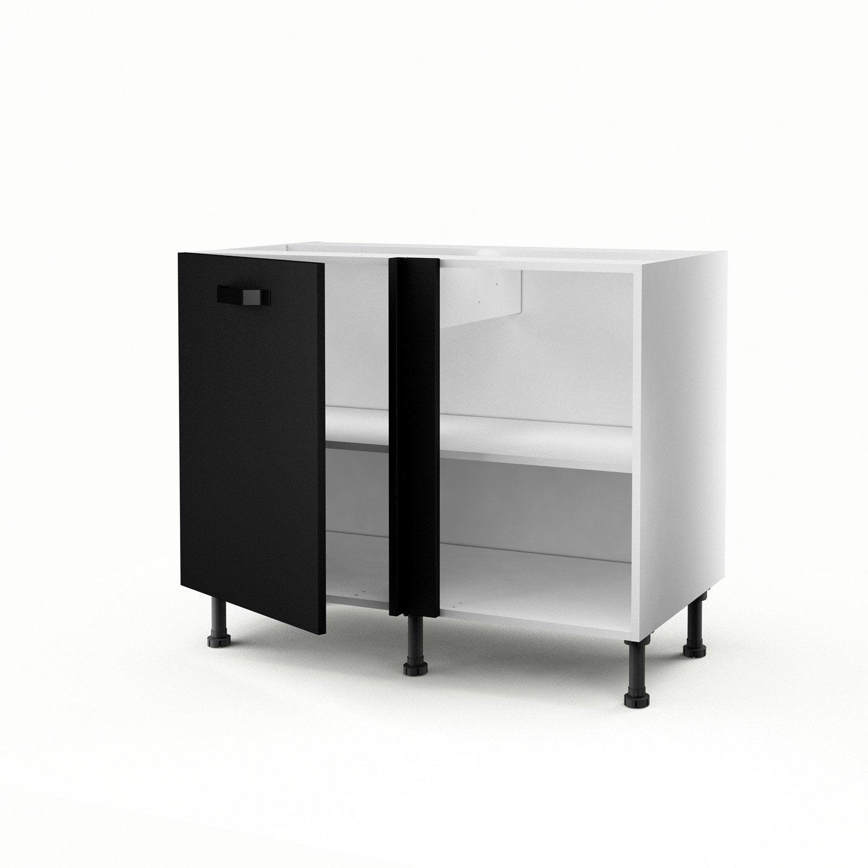 meuble de cuisine bas d 39 angle noir 1 porte mat edition x x cm leroy merlin. Black Bedroom Furniture Sets. Home Design Ideas