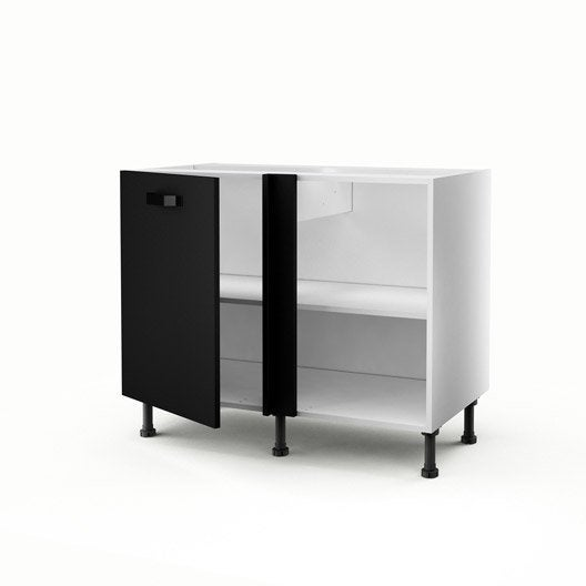 meuble de cuisine bas d 39 angle noir 1 porte mat edition x x cm leroy merlin. Black Bedroom Furniture Sets. Home Design Ideas