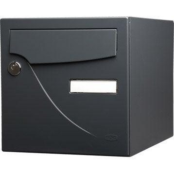 Boîte aux lettres normalisée la poste 1 porte RENZ Essentiel, acier gris