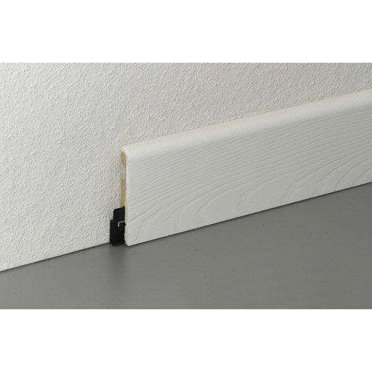 Plinthe parquet et sol stratifi d cor blanc cm x h for Plinthe en bois sur carrelage