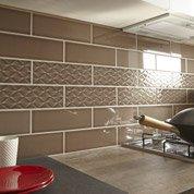 Faïence mur taupe, décor vintage l.10 x L.30 cm