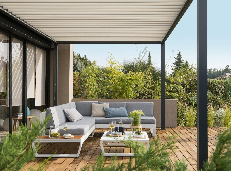 Un salon de jardin en aluminium et bois leroy merlin - Terrasse et jardin leroy merlin dijon ...