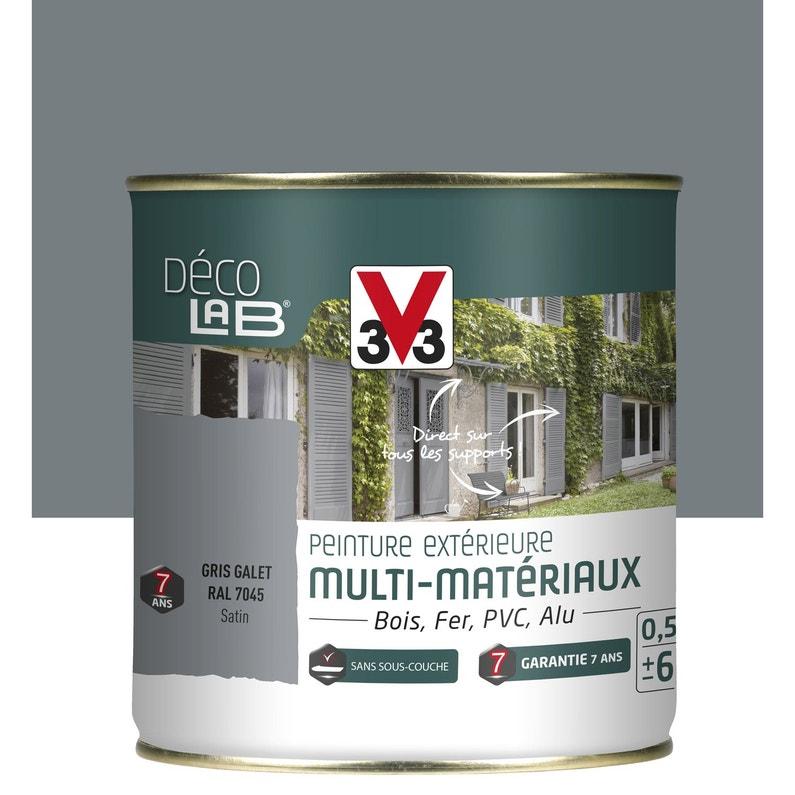 Peinture Multimateriau Exterieur V33 Gris Galet 0 5 L Leroy Merlin