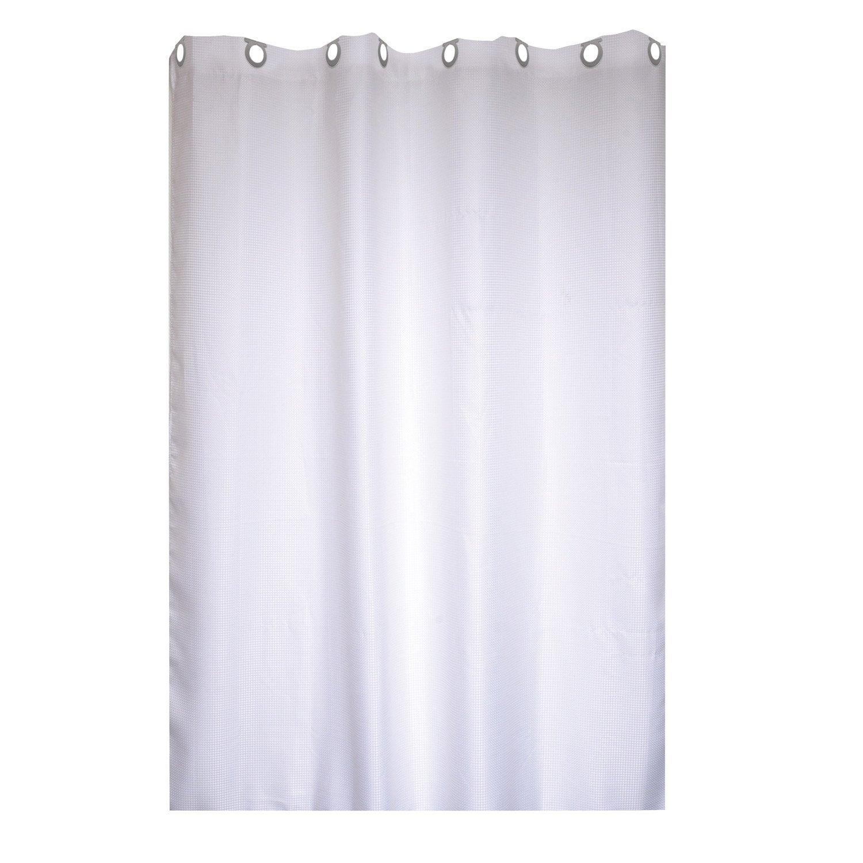 Agreable Rideau De Douche En Textile Blanc Blanc N°0 L.180 X H