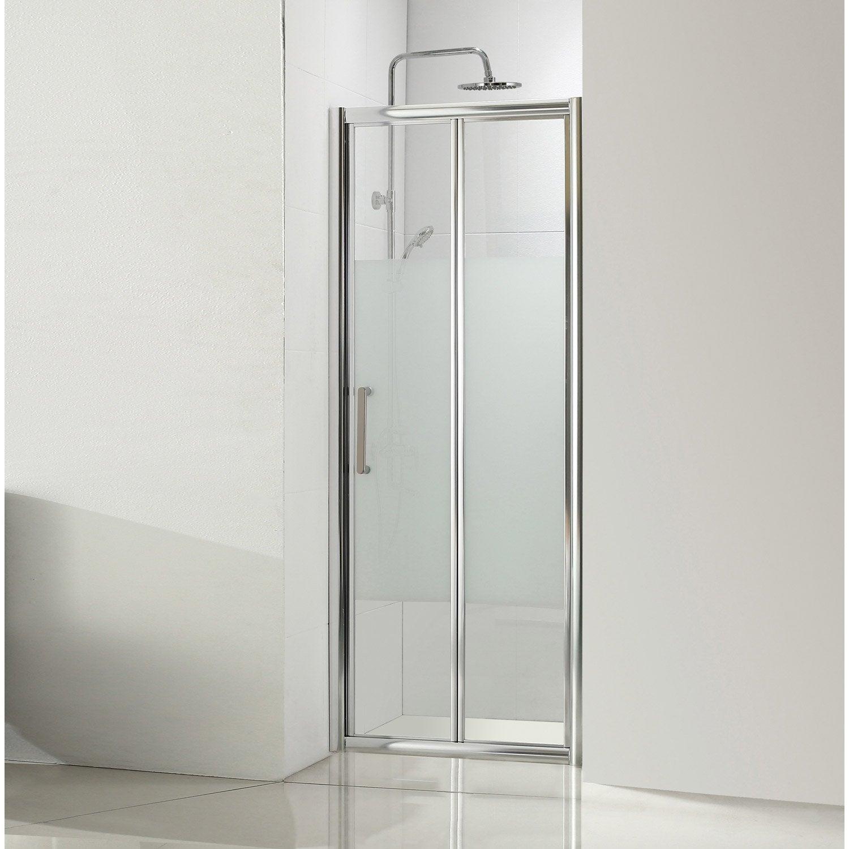 Porte de douche pliante 90 cm, sérigraphié, Quad | Leroy Merlin