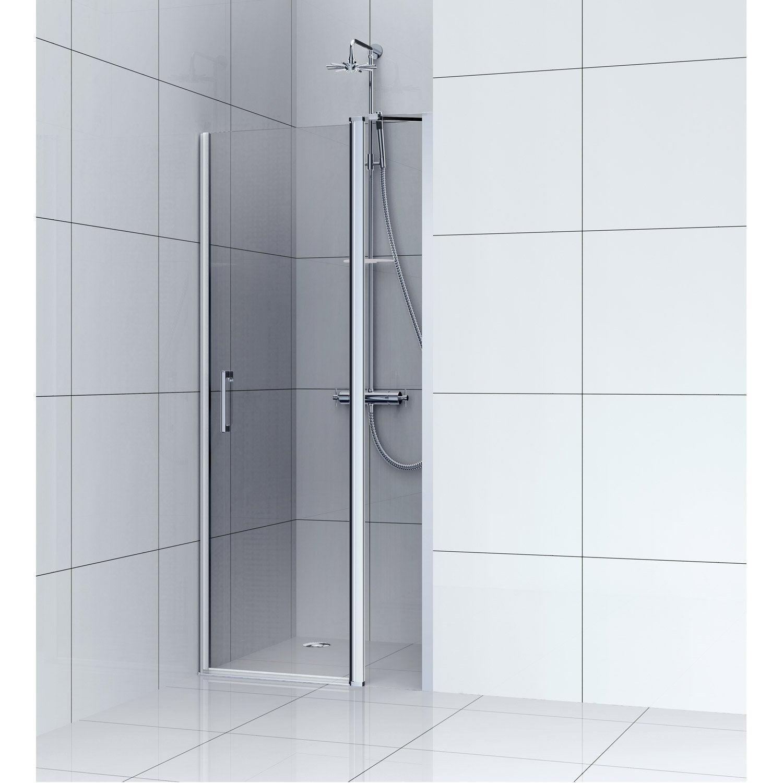 Porte de douche pivotante 90 cm, fumé, Remix   Leroy Merlin cbbeea98e27