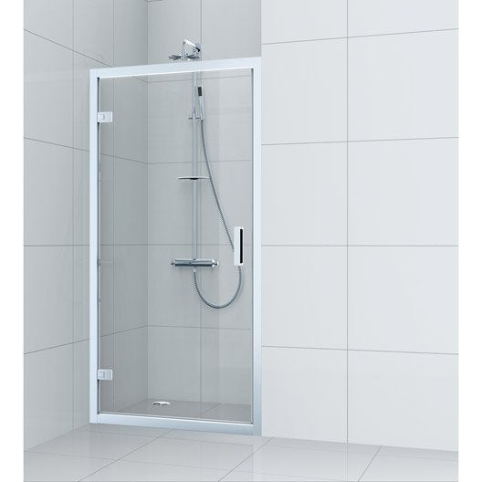 porte de douche pivotante 100 cm transparent charm leroy merlin. Black Bedroom Furniture Sets. Home Design Ideas