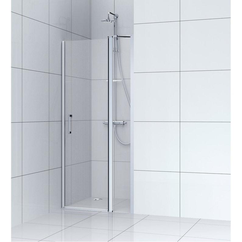 Porte de douche pivotante 90 cm, transparent, Remix   Leroy Merlin 3ace0ae92a2