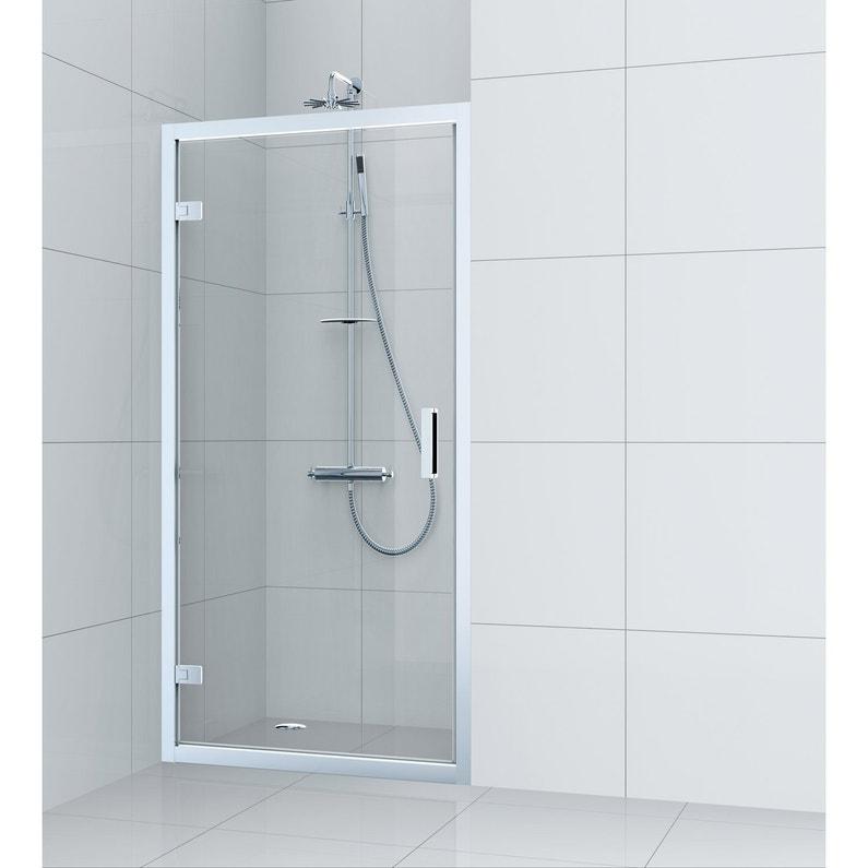 Porte de douche pivotante 90 cm, transparent, Charm   Leroy Merlin e5b1b545cec