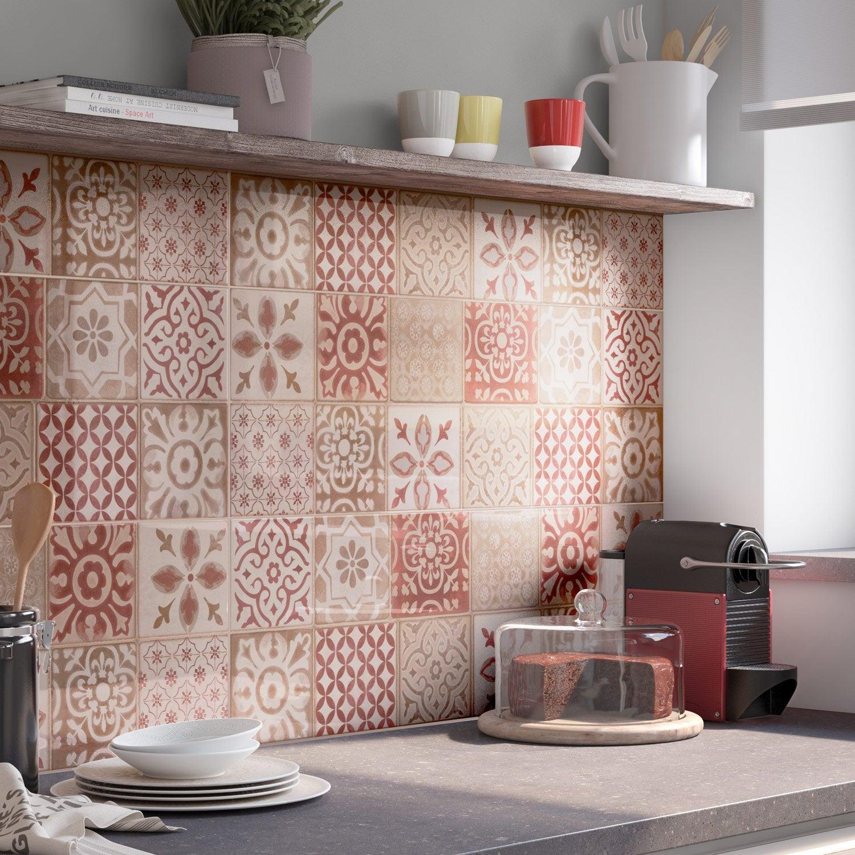 Décor mur rouge mat l.25 x L.76 cm, Haussmann