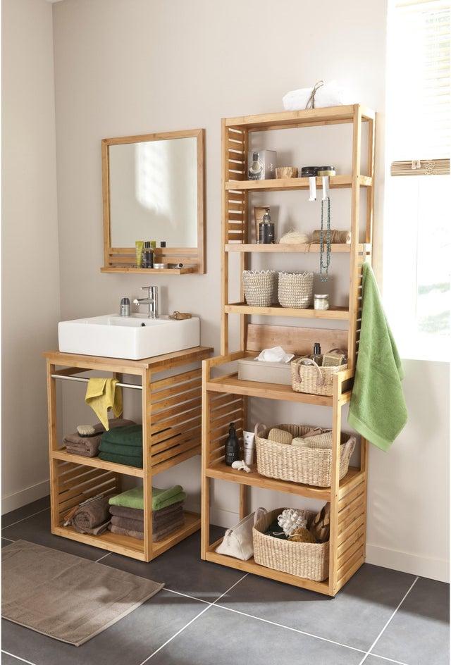 Meuble de salle de bains simple vasque l.60 x H.85 x P.50 cm ...