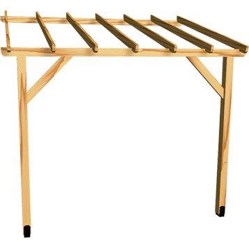 Appenti en bois traité AUVENT 1 pan, 6 m²