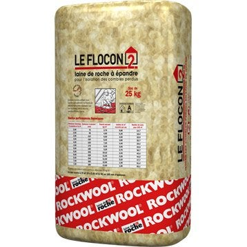 Laine de roche à épandre ROCKWOOL, 25 kg, r variable selon l'épaisseur