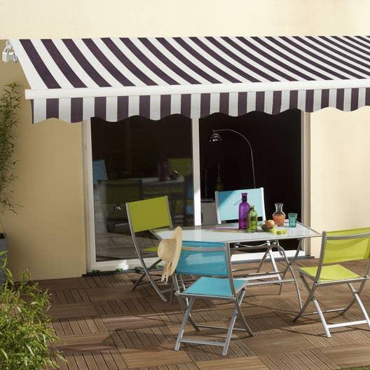 store banne manuel sunlight sans coffre 4 x 3 m blanc gris leroy merlin. Black Bedroom Furniture Sets. Home Design Ideas