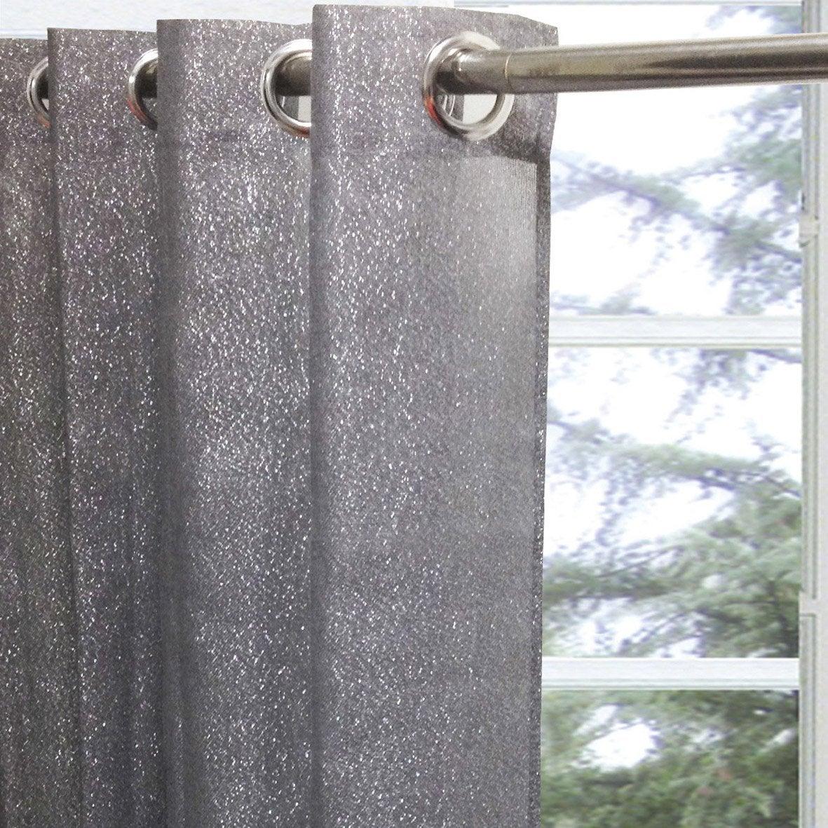 Voilage tamisant glitter gris x cm inspire for Rideau pour ne pas etre vu de l exterieur