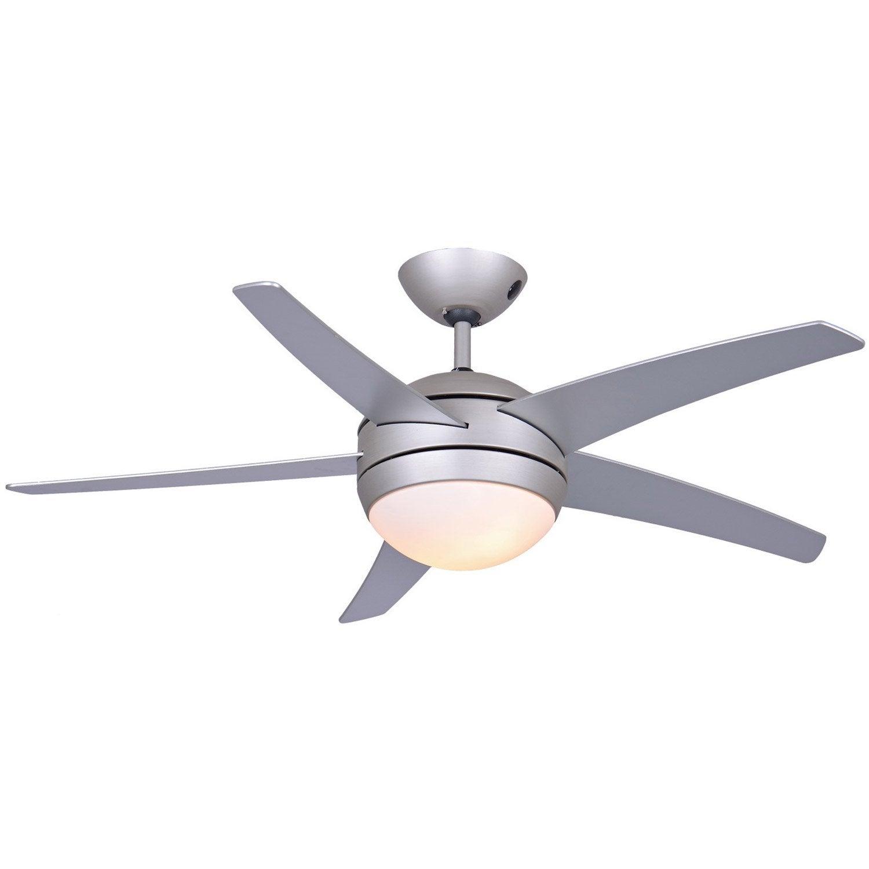 Ventilateur de plafond ceylan inspire argent 60 w leroy merlin - Ventilateur plafond silencieux avec telecommande ...