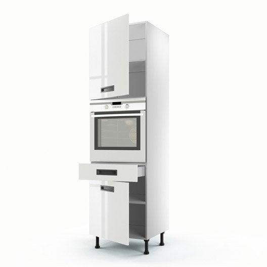 Meuble de cuisine colonne blanc 2 portes 1 tiroir play h - Colonne cuisine 50 cm ...