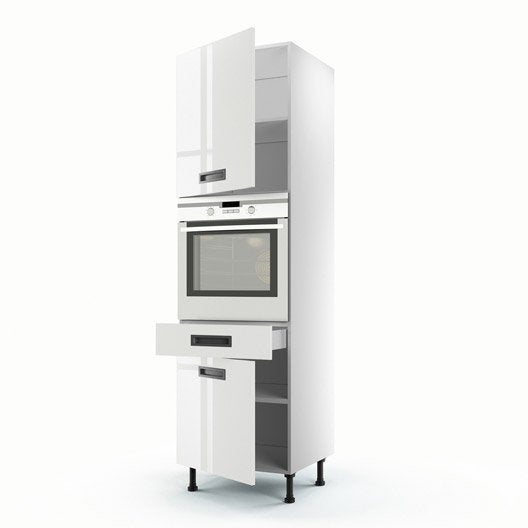 Meuble de cuisine colonne blanc 2 portes 1 tiroir play h for Meuble cuisine 50 x 60