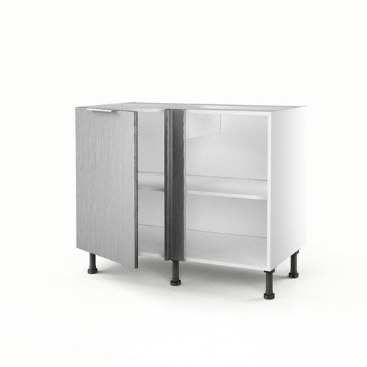 Meuble de cuisine bas d 39 angle d cor aluminium 1 porte stil for Meuble aluminium cuisine
