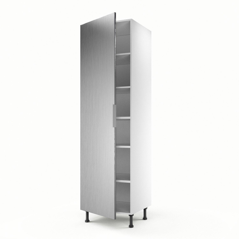 Meuble de cuisine colonne décor aluminium 1 porte Stil H.200 x l.60 on