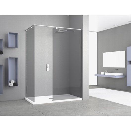 paroi de douche l 39 italienne cm verre fum 8 mm eliseo espace leroy merlin. Black Bedroom Furniture Sets. Home Design Ideas