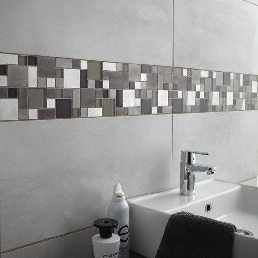 fa ence mur gris clair denver x cm leroy merlin. Black Bedroom Furniture Sets. Home Design Ideas