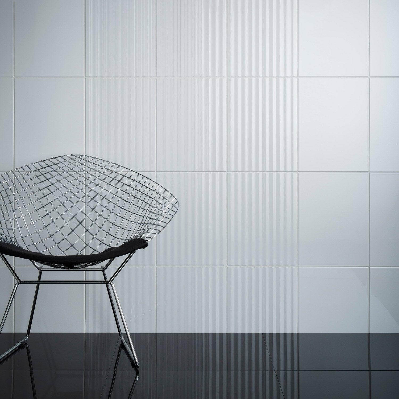 Faence Mur Blanc Brillant Rubix Lignes L30 X L60 Cm