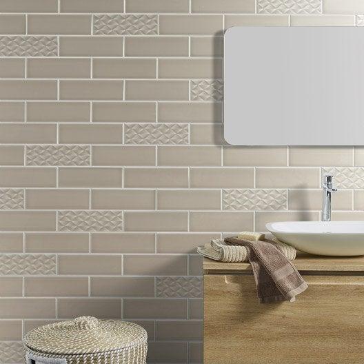 Faïence mur beige, Vintage l.10 x L.30 cm