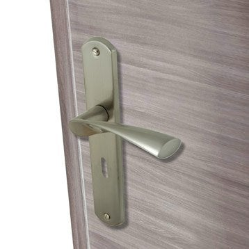 Lot de 2 poignées de porte Balard trou de clé INSPIRE, aluminium mat, 195 mm