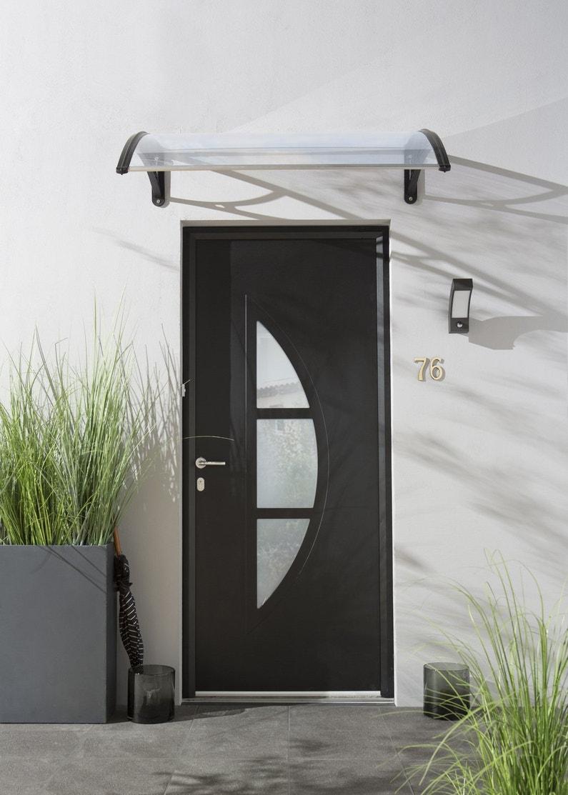 Une porte d 39 entr e noire contemporaine for Porte d entree contemporaine