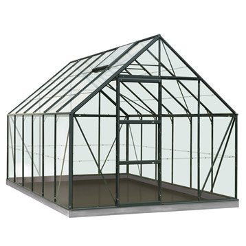 Serre de jardin en verre trempé Rainbow vert, 9.9 m²