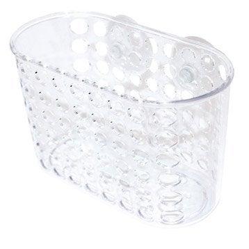 Etagère de bain / douche à ventouser, transparent, Panier haut plexi transparent