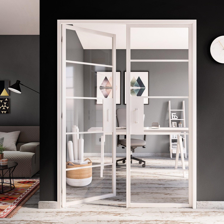 bloc porte laqu e blanc artens x cm poussant gauche leroy merlin. Black Bedroom Furniture Sets. Home Design Ideas