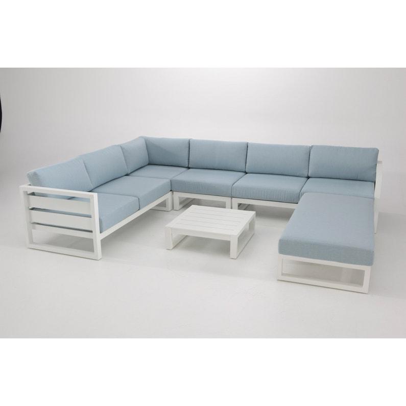 Salon bas de jardin Donoussa aluminium blanc/ bleu, 8 personnes
