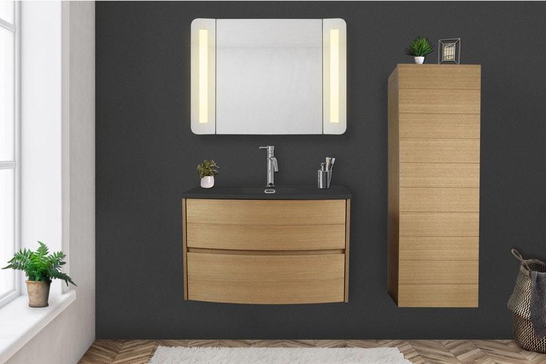 Armoire De Toilette Lumineuse L 80 Cm Imitation Chene Naturel