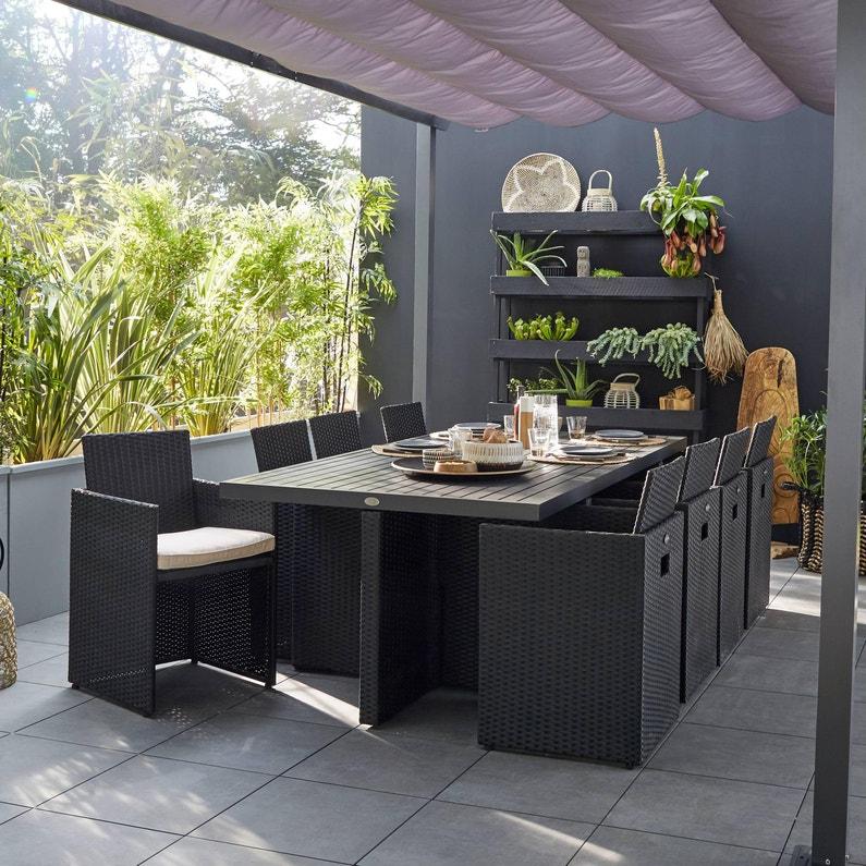 Salon de jardin Encastrable résine tressée noir, 8 personnes