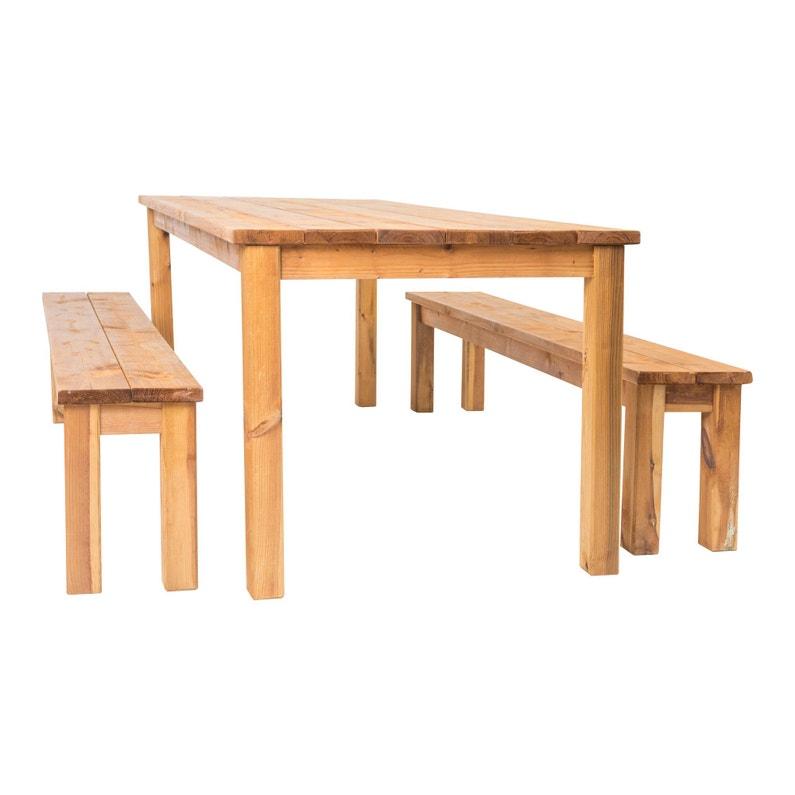 Salon de jardin Sapin bois marron, 8 personnes