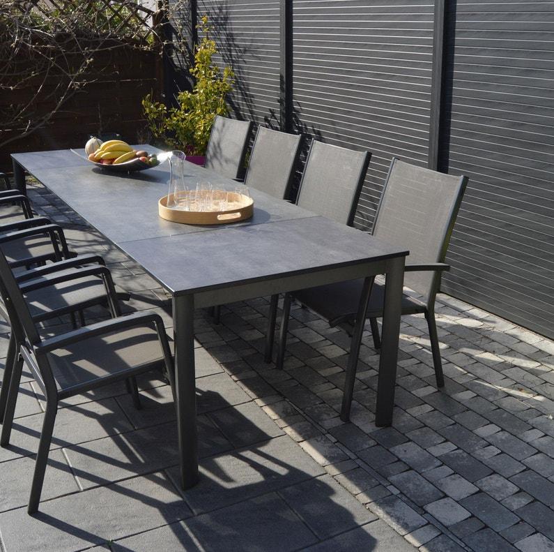 Salon de jardin Puroplan aluminium gris anthracite, 10 personnes