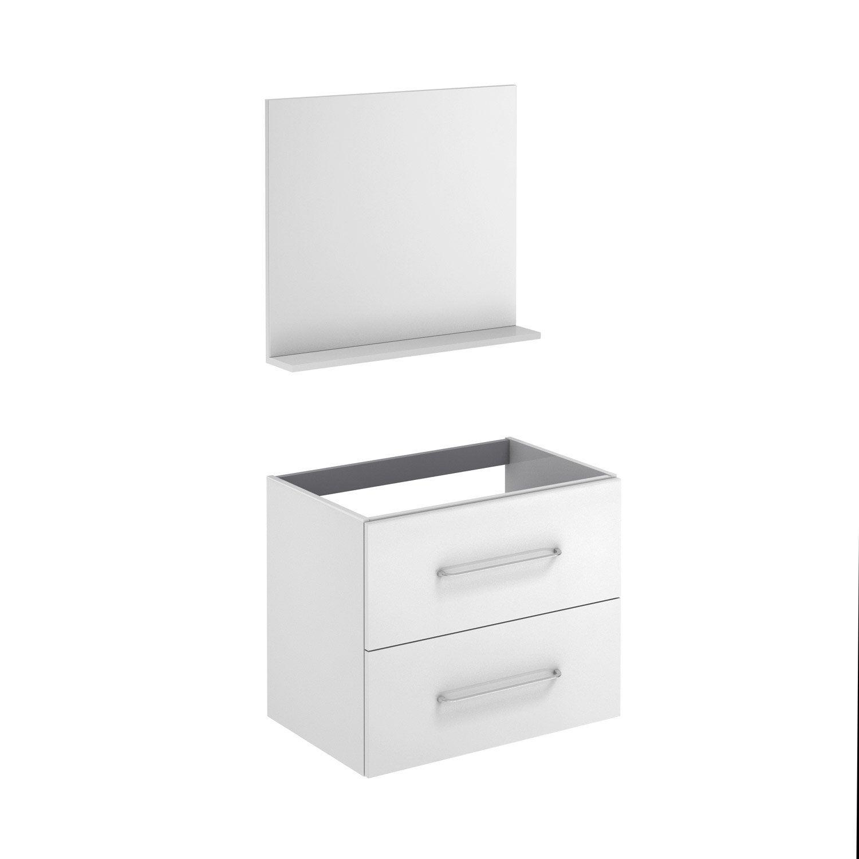 Meuble de salle de bains l.69.5 x H.57 x P.45 cm, blanc, Clik