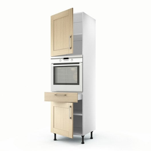 colonne ch ne clair 2 portes 1 tiroir cyclone h200xl60xp56 cm leroy merlin. Black Bedroom Furniture Sets. Home Design Ideas
