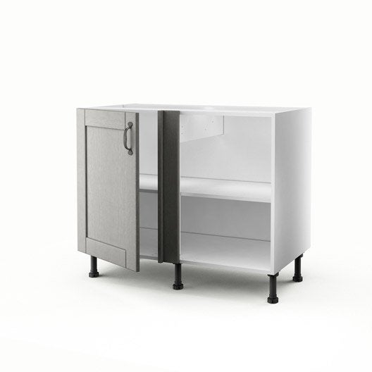 meuble de cuisine bas d 39 angle gris 1 porte nuage x x cm leroy merlin. Black Bedroom Furniture Sets. Home Design Ideas