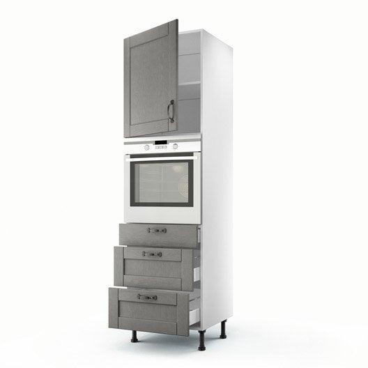 Meuble de cuisine colonne gris 1 porte 3 tiroirs nuage h for Colonne cuisine tiroir