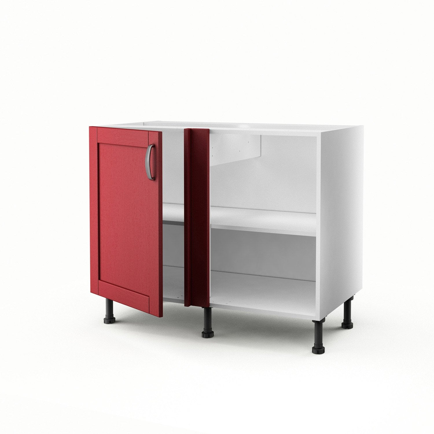 meuble de cuisine bas d 39 angle rouge 1 porte rubis x x cm leroy merlin. Black Bedroom Furniture Sets. Home Design Ideas