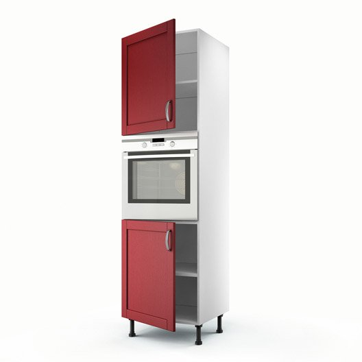 Cuisine Vintage Blanche Kidkraft 53208 : Meuble de cuisine colonne rouge 2 portes Rubis H200 x l60 x P56 cm