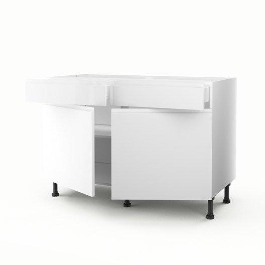 Meuble de cuisine bas blanc 2 portes 2 tiroirs graphic h for Meuble bas 120 cm