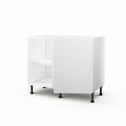 meuble de cuisine bas d 39 angle blanc 1 porte graphic h70xl100xp56 cm leroy merlin. Black Bedroom Furniture Sets. Home Design Ideas