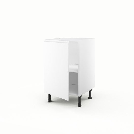 Meuble de cuisine bas blanc 1 porte graphic x x for Meuble bas cuisine 50 cm